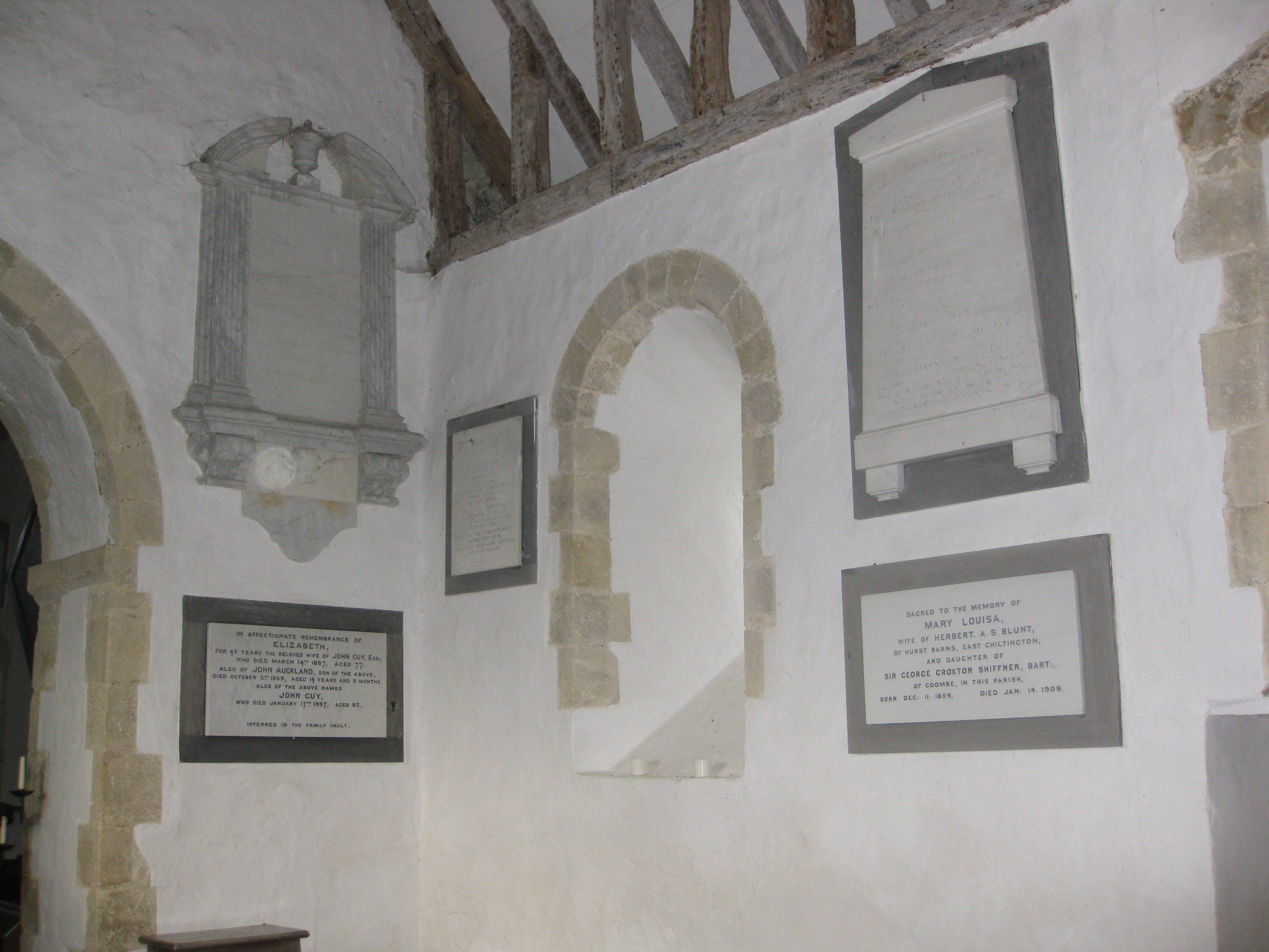 Monuments of the north wall of the Chancel
